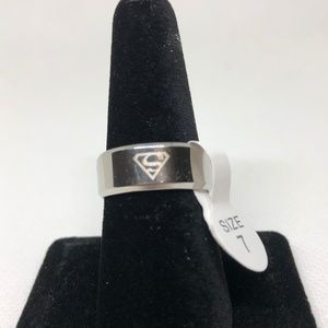 Stainless Steel Superman Unisex Band Ring Size 7